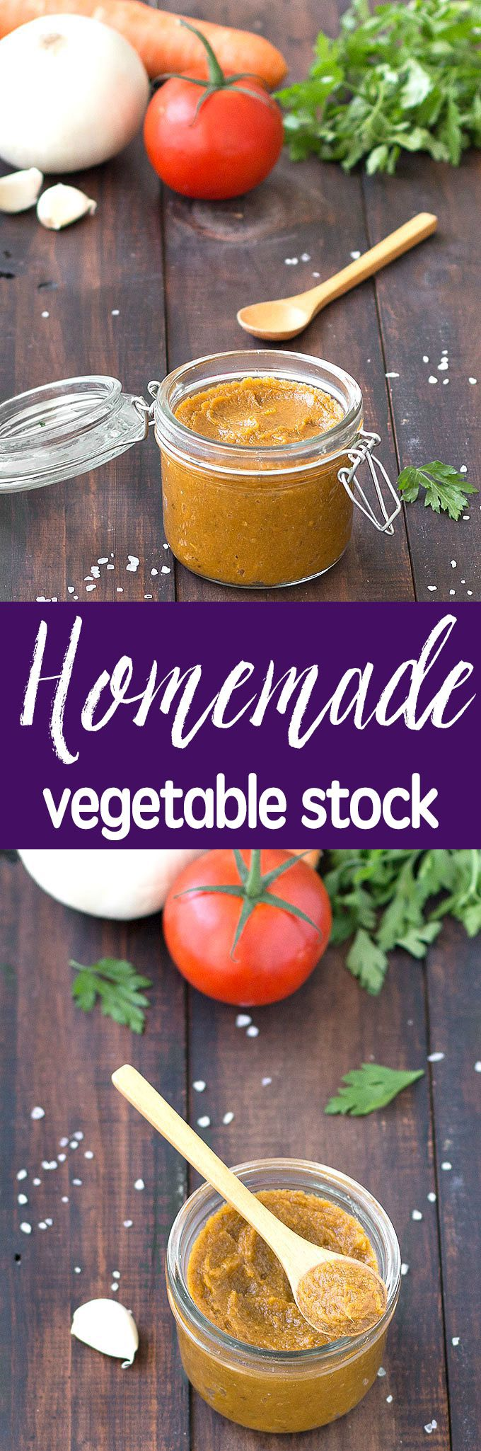 Homemade vegetable stock is so easy to make and add flavor to soups, risotto, stews, and lots of other dishes. It's tastier, healthier and cheaper than the store bought one.