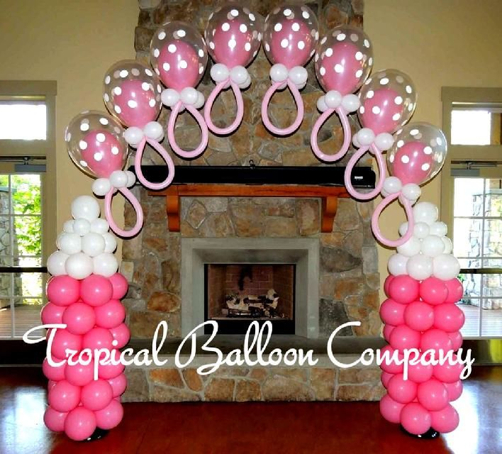 Adorable baby shower balloon decorating party decor for Balloon decoration for baby girl