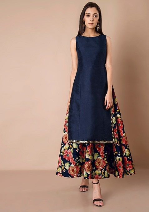 How pretty is this navy blue kurta with floral lehenga skirt by Vasansi Jaipur? Click on image to know the prices. #Frugal2Fab #PunjabiLadiesSuits