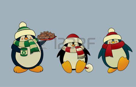 pinguino natale: Set di 3 alla ricerca di illustrazione dolce e divertente di Natale penguins.Isolated vettore