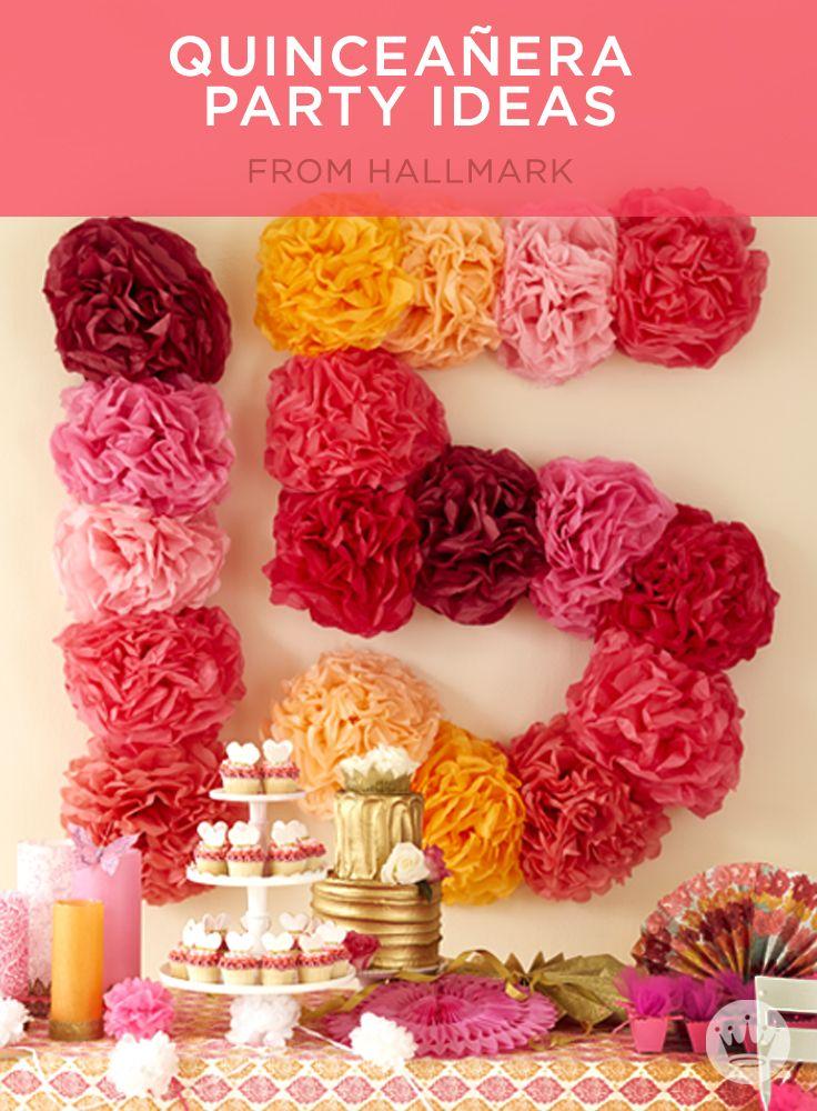 Sweet and simple DIY quinceañera decorations, cake & centerpiece ideas.