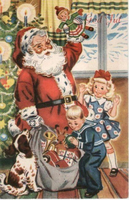 Julekort George Schumann Mittet & Co brukt 1955