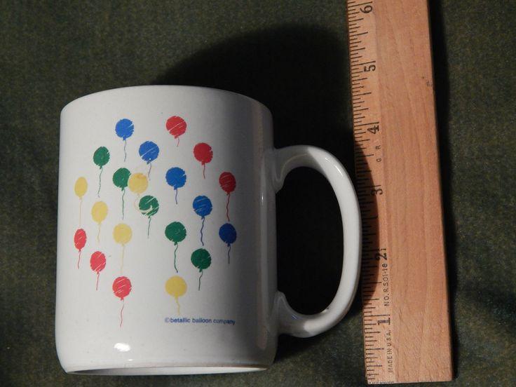 (ceramic Coffee Mug) Betallic Balloon Company (multi-color) Double Sided (vtg.)