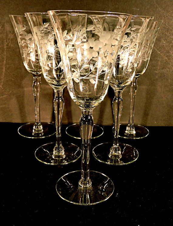 Wine Glasses Long Stem Wine Glass Set of 6 Tall Cut by Mainetrader