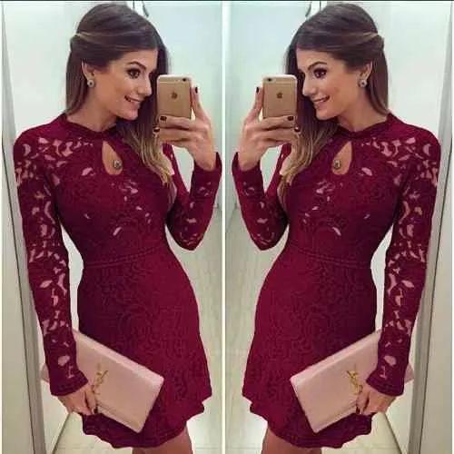 Vestido De Renda Casual Vestidos Sexy Mini Vestido De Vesta - R$ 85,50