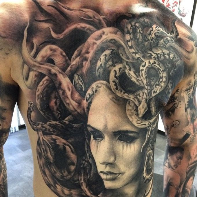 Medusa Tattoo Large medusa on guys chest & abdomen best tattoo ideas ...