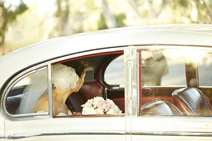 Classic wedding car photo. Bride wears a beautiful flower inspired hair piece with veil.  Location ~ Kings Park, Perth Photography by DeRay & Simcoe