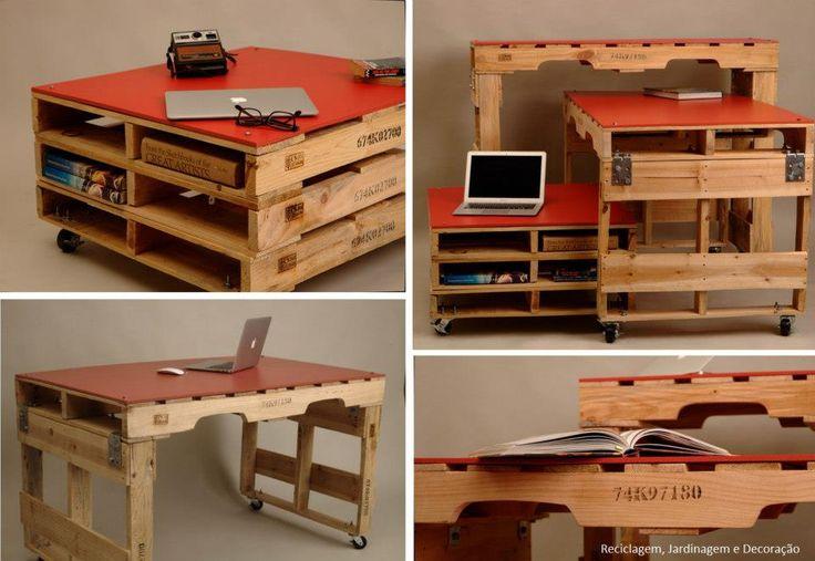 Escritorio con paletas de madera palet ideas pinterest for Proyecto de muebles de madera