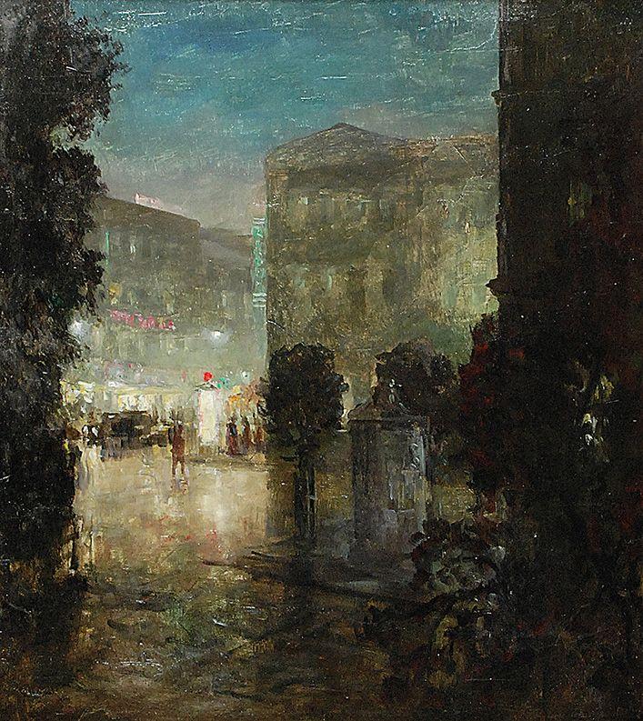 Konstanty MACKIEWICZ (1894-1985)  Nokturn miejski olej, tektura; 54 x 48,5 cm; sygn. l. d.: K MACKIEWICZ