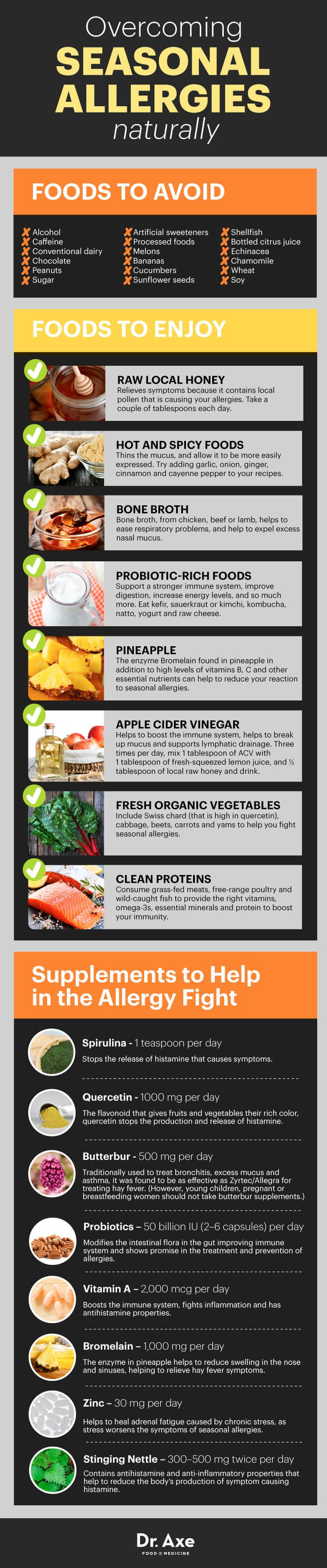 Natural remedies cures for seasonal allergies infographic chart.