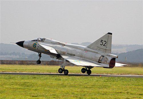 Swedish Air Force Historic Flight - Saab AJS-37 Viggen - SE-DXN. Leuchars Airshow 2013, RAF Leuchars, Fife, Scotland, UK.