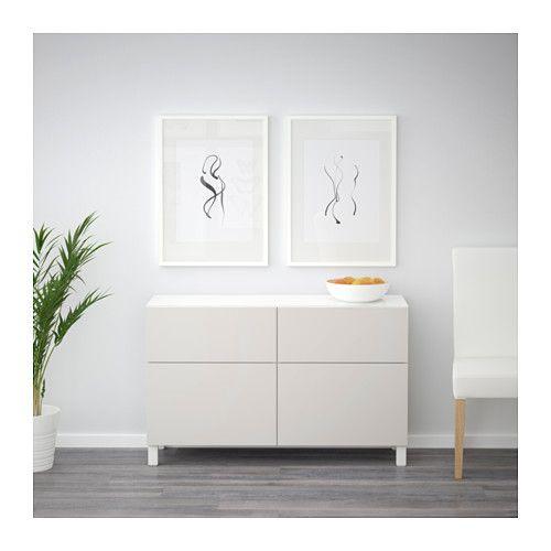 BESTÅ Kommode - hvit/Lappviken lys grå, skuffeskinne, trykk-åpen-beslag - IKEA
