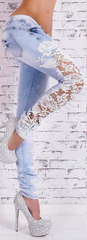 lace denim jeans, SUPER CUTE