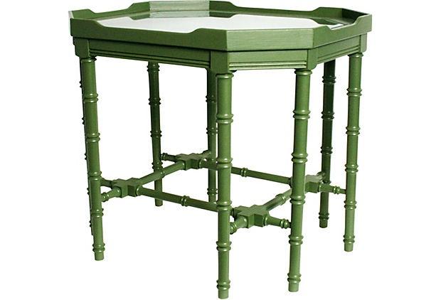 Glass-Top Green Coffee Table