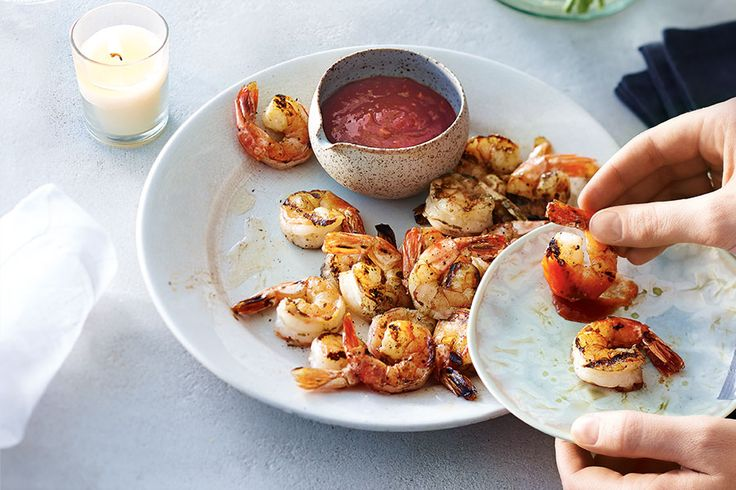 Grilled Shrimp with Sriracha-Lime Cocktail Sauce