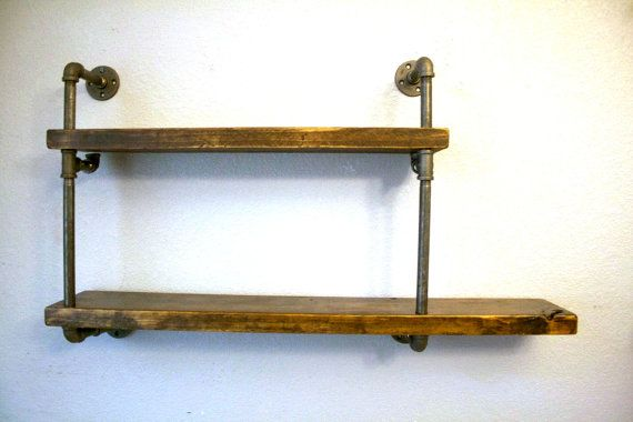 Wall Mounted Industrial Pipe Media Shelving, Industrial furniture Media shelf, Shelving unit, Urban media shelving, optional reclaimed wood.