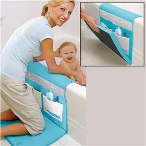 Genius! Bath organizer with padding for knees and elbows.