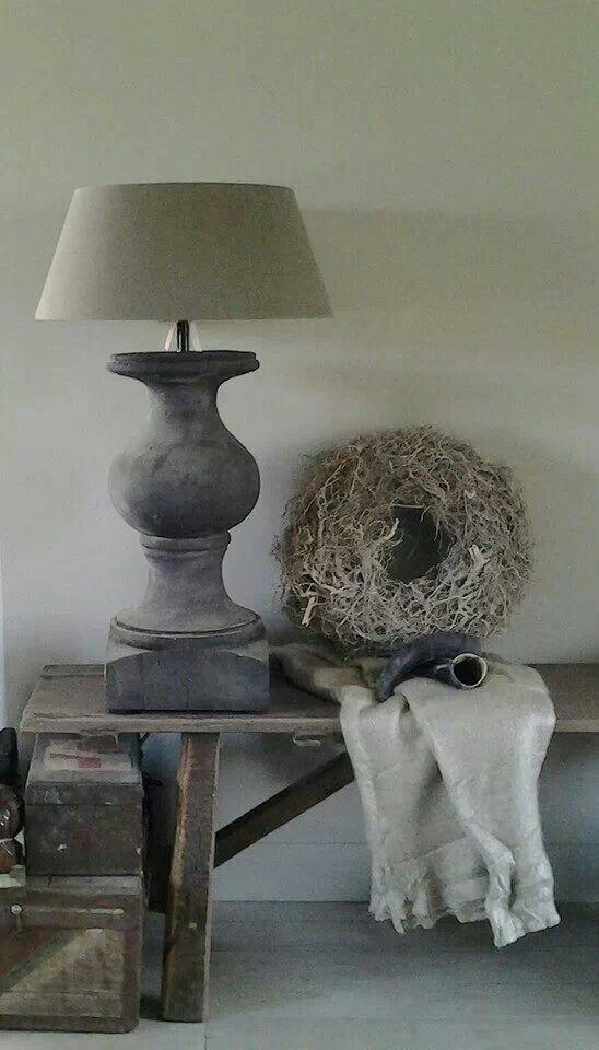 ☆ stoere landelijk grijze lamp