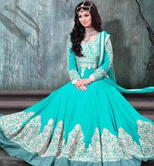 AYESHA TAKIA NAVIKA FASCINATING FIROZI VINTAGE WEDDING ANARKALI DRESS.....RTNV9005E.... INRs.6,275 Don't let eyes off you by getting dressed in this excellent Navika collection designer Ayesha Takia wedding wear European gown style Anarkali salwar kameez suit to increase the appearance of the outfit heavy zari with silk thread embroidery, stone work and handwork is done on the dress along with lace-border. Nice Santoon fabric is provided for inner and salwar, chiffon dupatta also included