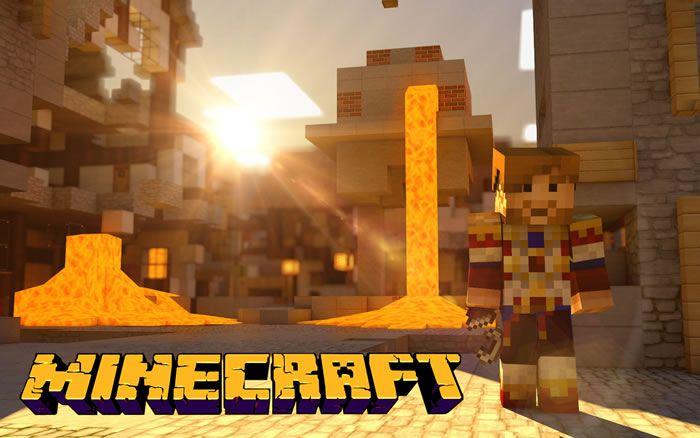 Fondo de pantalla gratis para el escritorio. Lava en Minecraft hace daño a los jugadores y los mobs en juegos-de-minecraft.com