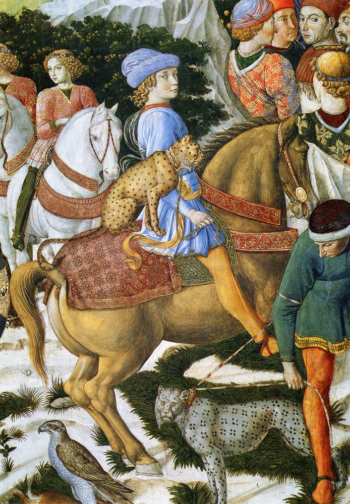 Portrait of Giuliano De Medici (Detail) 1460 - by Benozzo Gozzoli. Ride in with a leopard
