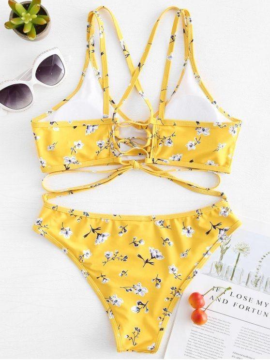 919986b9b8 Shop Womens Swimwear Beachwear at. Lace-up Floral Straps Bikini - RUBBER  DUCKY YELLOW L