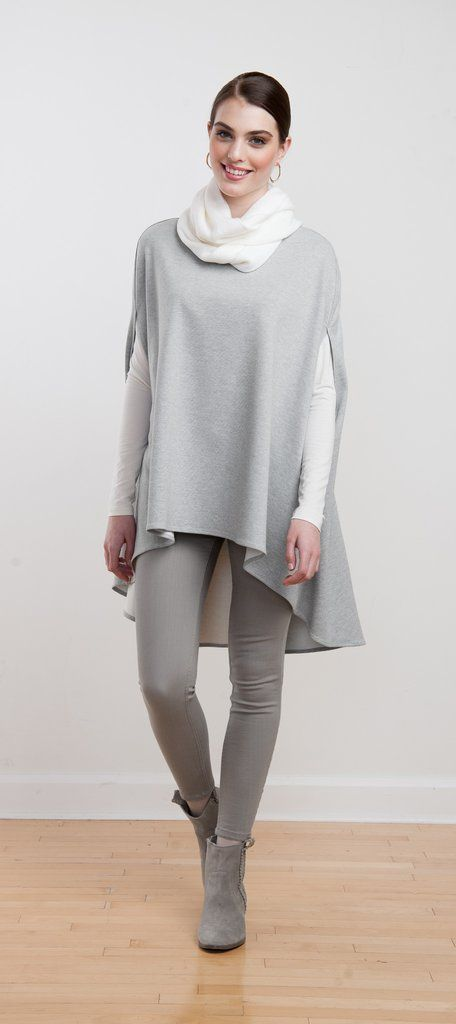 Elegant cape reverses between light grey and ivory, a beautiful layering piece for fall