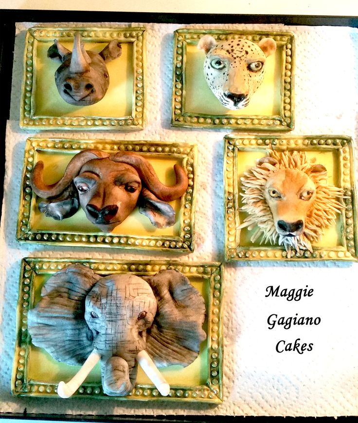 Big Five Animals Cake Topper