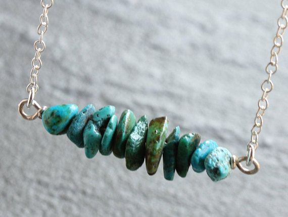 Natural Turquoise Bar Necklace Sterling Silver blue