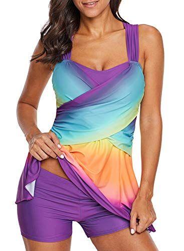 832e8b39d63de LOSRLY Women Color Block Rainbow Tankini Swim Dress Two Pieces Swimsuit  with Shorts (M-