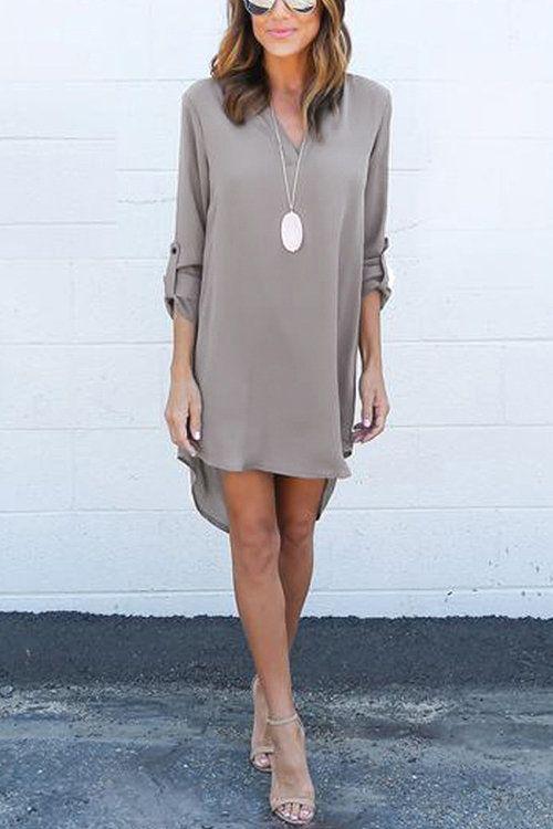 Grey Casual See-through Chiffon V-neck Curved Mini Dress - US$11.95 -YOINS