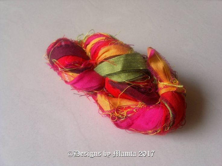 Red Plumeria Flower Inspired Sari Ribbon Yarn, Bright Colored Art Silk Yarn, Recycled Multi Color Sari Ribbon, Sari Silk Yarn, Sari Art Yarn by Mamta on Etsy