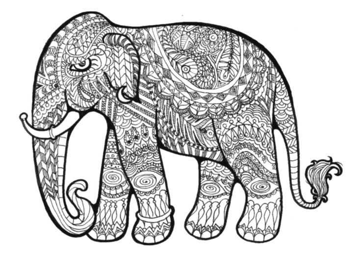 pattern elephant coloring pages