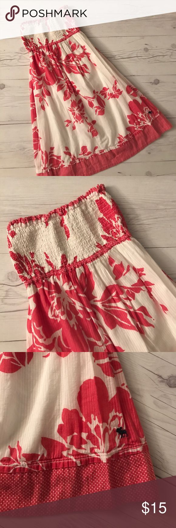 Abercrombie &a Fitch dress Cream and coral color cotton dress by Abercrombie & Fitch. Fully lined soft and flowy. Like new condition size XL. I have lots of children's clothing check out my closet. ALL ITEMS ARE BUY 3 GET 1 FREE! Abercrombie & Fitch Dresses
