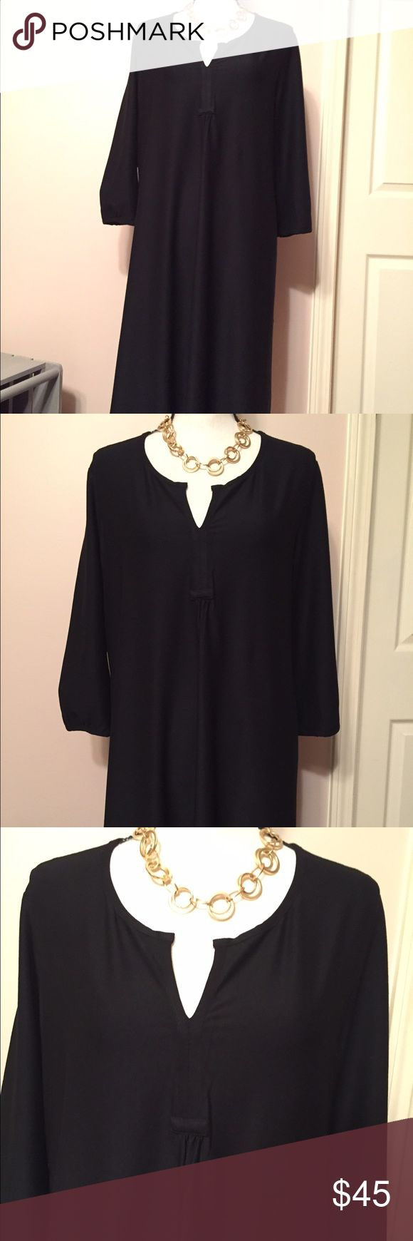 "Eileen Fisher Black Tunic Dress in EUC Genuine Eileen Fisher Black Tunic Dress Size Large. 20.5"" Armpit to armpit. 41"" Long. See pics for fabric blend. In excellent condition from a smoke free home. Eileen Fisher Dresses Midi"