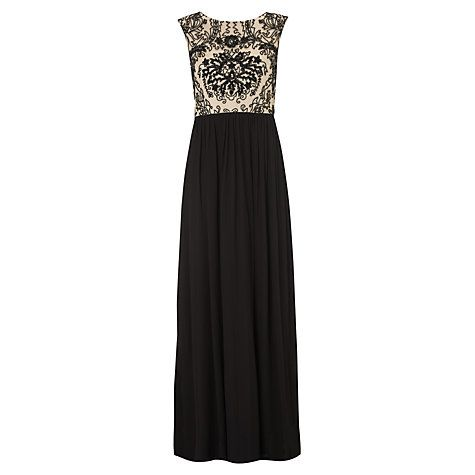 Buy Adrianna Papell Long Beaded Bodice Gown, Black/Nude Online at johnlewis.com