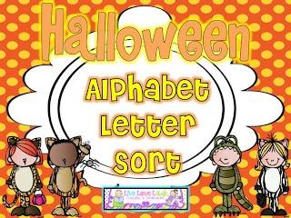 Freebielicious: Halloween Alphabet Letter Sort