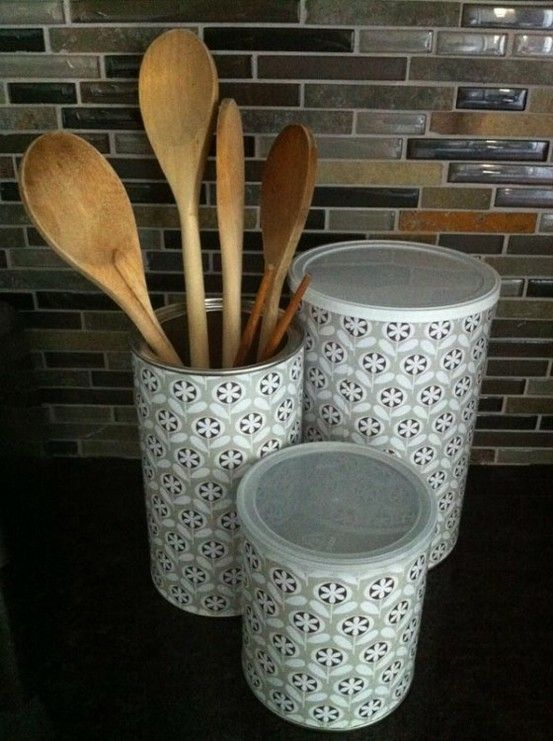Mod podge coffee containers and baby formula cans with scrapbook paper by georgette