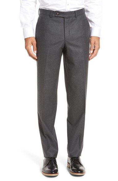 TED BAKER 'Frobisher' Flat Front Solid Wool Trousers. #tedbaker #cloth #