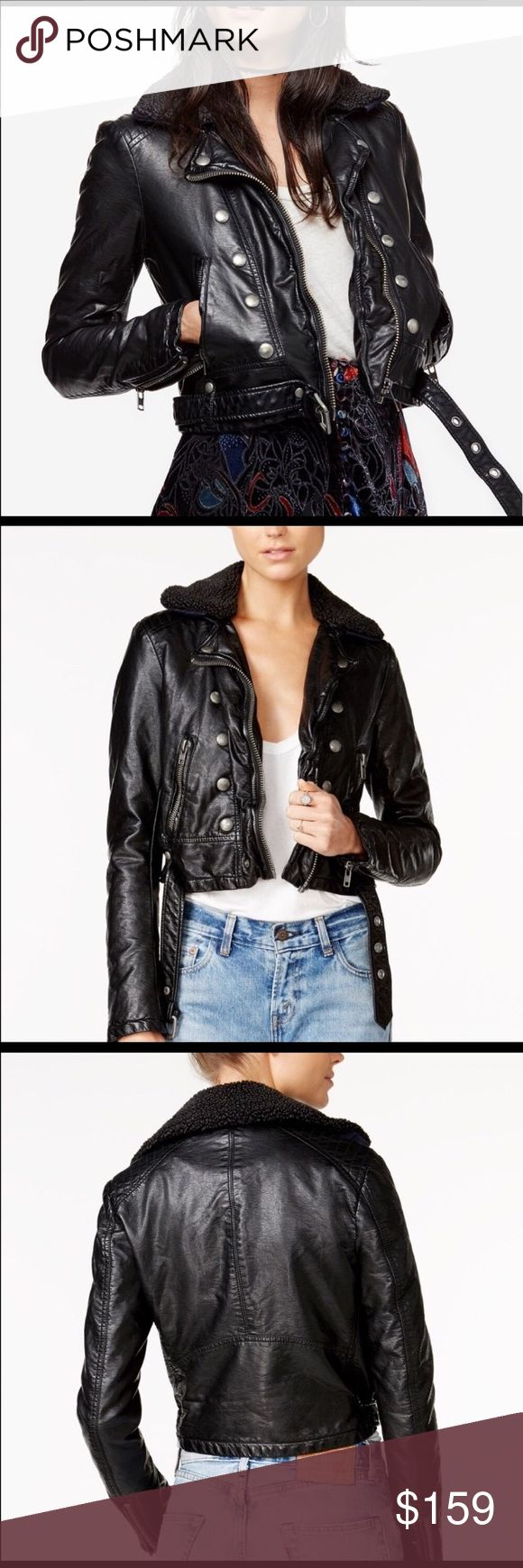 Free People Faux leather jacket size L new w tag Free People Faux leather jacket size L new w tag Size L . It fits like size 8-10 regular. Soft faux leather upper . Inside warm quilted lining . Very  cool jacket. Fur collar is removable. Lining is blue color . Sleeves are lined too Free People Jackets & Coats