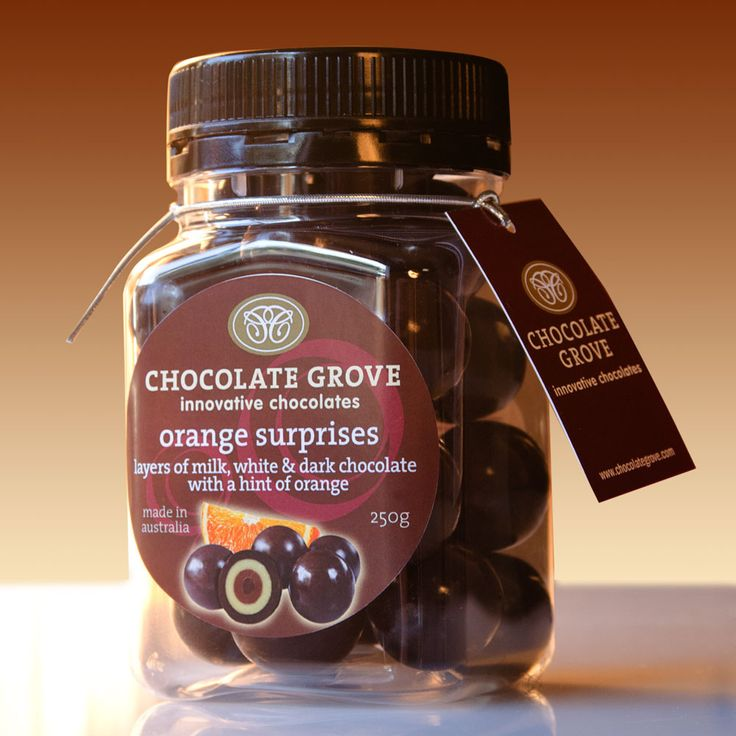 Chocolate Grove jar and label design which is used to pack their top ten range of coated product.