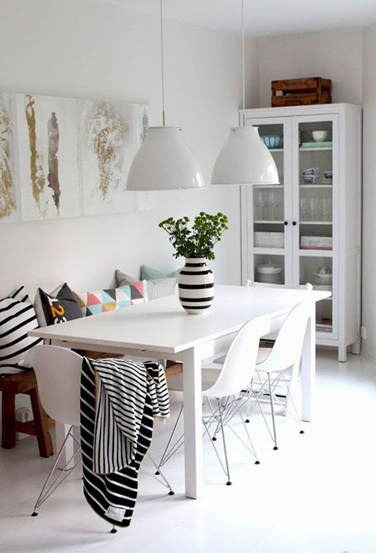 I Love The Idea Of Having A Bench On One Side, Against The Wall And · White Dining  RoomsDining Room TablesKitchen ...