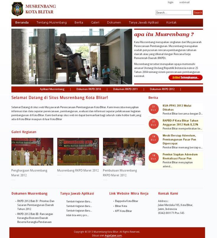 #Portofolio #Webpemerintahan Web untuk Musyarawah Perencanaan Pembangunan (Musrenbang) Kota Blitar ini dibangun tahun 2012 kemarin dengan menggunakan Joomla 2.5 untuk website utama dan CodeIgniter untuk sistem aplikasi Musrenbangnya.
