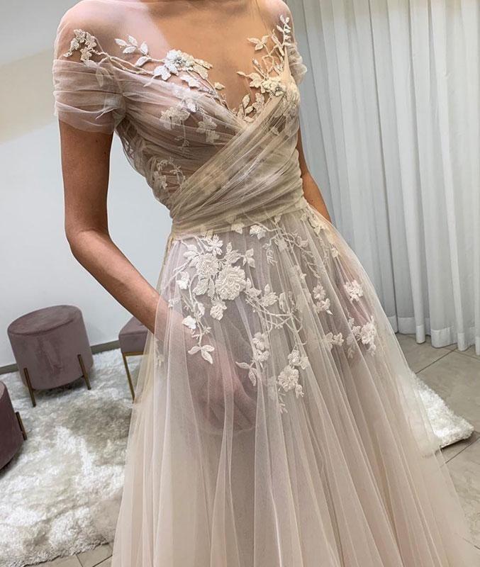 6c4e3beab0c Light champagne tulle lace long prom dress