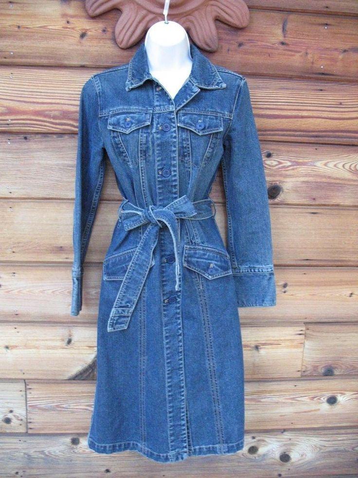 Gap Dress X-Small Heavy Denim Belted Grunge Wash Button Front Dress Duster #GAP #Denim #Casual