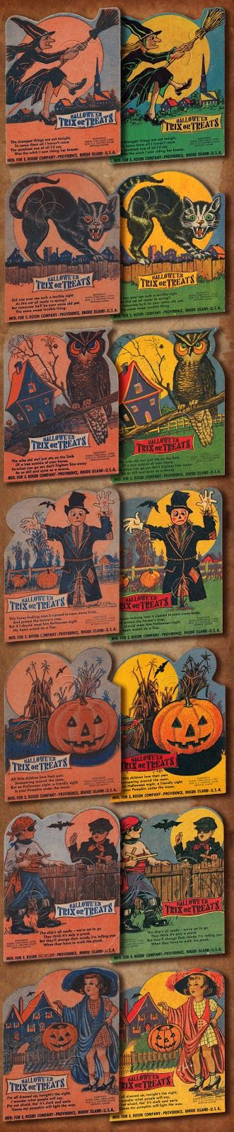 Rosen vintage Halloween candy holder cards 1930s and 1940s versions