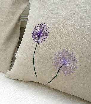 Vintage Linen Cushion - Dandelion  by polkadots & blooms