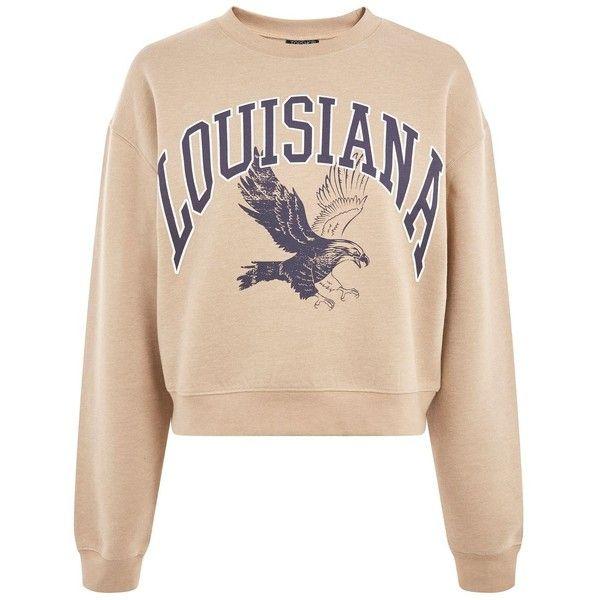 Topshop Louisiana Cropped Sweatshirt ($37) ❤ liked on Polyvore featuring tops, hoodies, sweatshirts, camel, beige crop top, slogan sweatshirts, camel top, topshop sweatshirt and crop top
