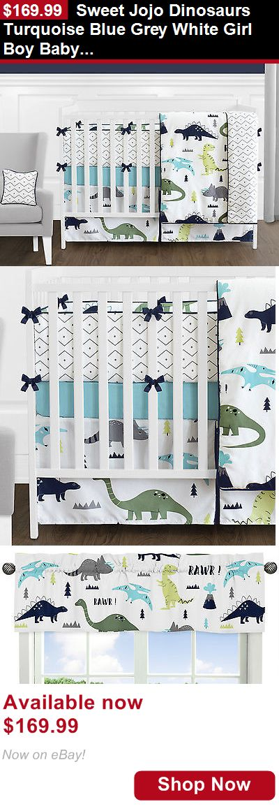 Nursery Bedding Sets: Sweet Jojo Dinosaurs Turquoise Blue Grey White Girl Boy Baby Crib Bedding Set BUY IT NOW ONLY: $169.99