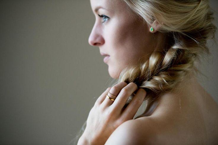 SIMPLE // ELEGANT #hvisk #hviskstylist #rings #jewelry #gold #green #earrings #blonde #hair #braid #fishtailbraid #fishtail #hairstyle #model #closeup #scandinavian #danish #blueeyes #blue #eyes
